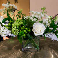 Natural, creams and green wild flower centerpiece